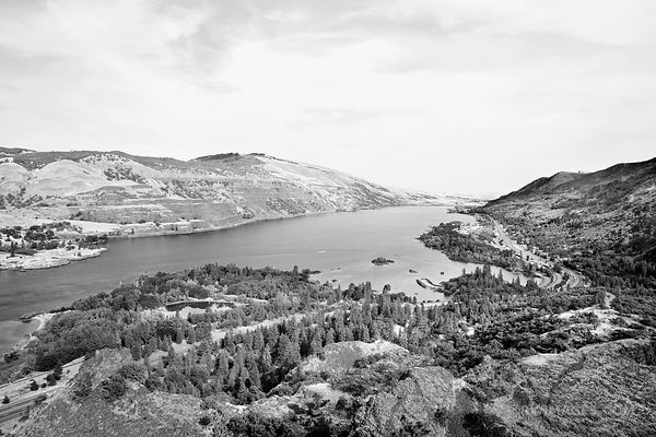 VIEW FROM ROWENA CREST MAYER STATE PARK COLUMBIA RIVER GORGE OREGON BLACK AND WHITE