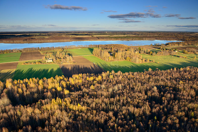 Aerial view of autumn in Vooremaa Landscape Reserve, with  Raigastvere Lake, Tartumaa, Estonia. October 2013.