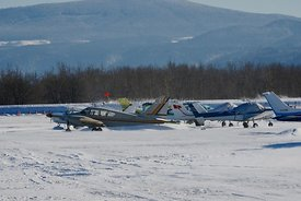 Airplanes snowed in at Troutdale, Oregon