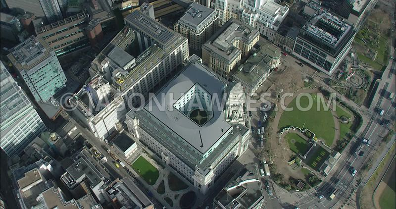 London Aerial footage, Trinity Square towards City of London skyline.
