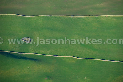 Aerial view of paths through fields in Dumphries and Galloway, Scotland
