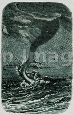 Illustration from 1869 depicting waterspouts
