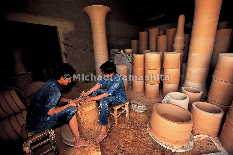 The famed blue and white porcelain from the ancient kilns at Jigdezhen is still produce by hand.
