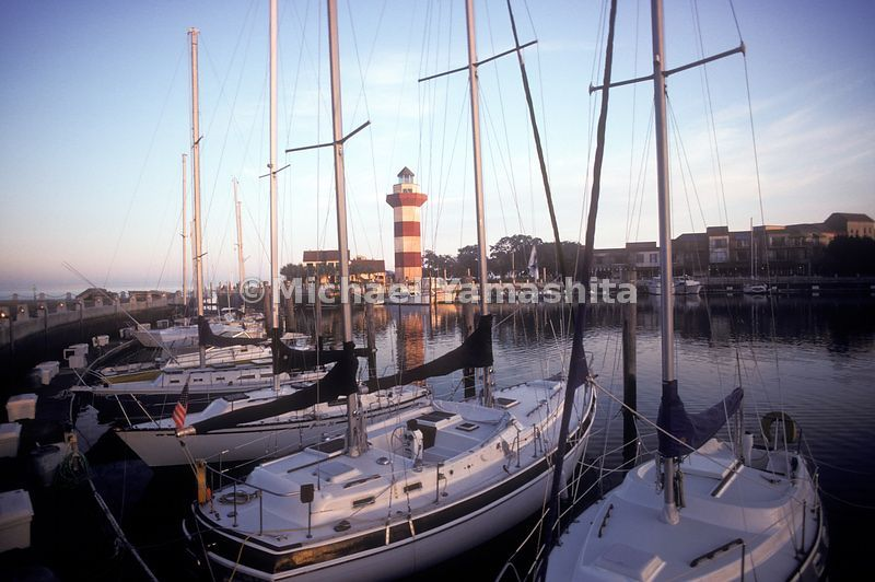 A view of the boats and lighthouse at Hilton Head Island.
