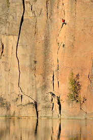 Rock climber in a crack system