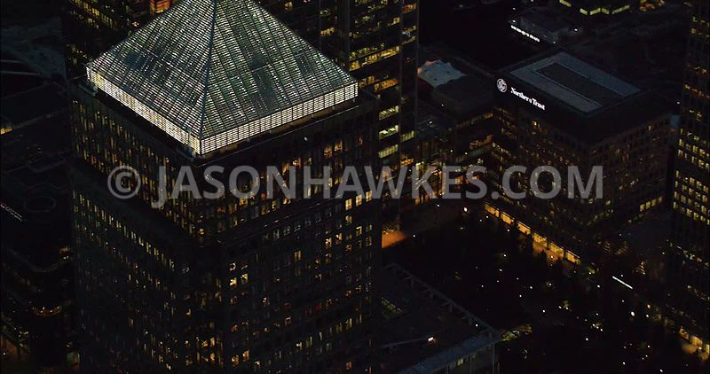 London Aerial Footage of Canary Wharf at night.