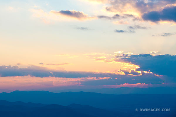 BLUE RIDGE MOUNTAINS SUNSET SHENANDOAH NATIONAL PARK VIRGINIA COLOR