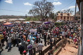 Some 200 protestors gather during a demonstration in Soamahamanina (70 kilometer from Antananarivo) on September 29, 2016 in protest against the presence of the Chinese mining company Jiuxing. The protesters, native to the region, accuse Chinese mining company Jiuxing of forcing the rental of land and destroying the property and environment.