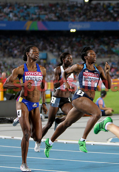 Lee McConnell(GBR), Francena McCorory (USA),Norma González (COL)