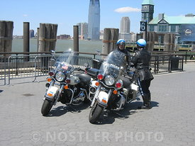 A pair of NYPD Highway Patrol motorcycles