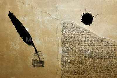 Ancient paper with typewriter text, ink pot, dot and feather