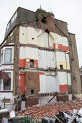 Demolished house end, part of a regeneration program, Blackpool, UK