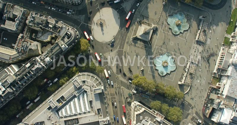 Aerial footage of the Strand, Trafalgar Square, Nelsons Column, Admiralty Arch, London.