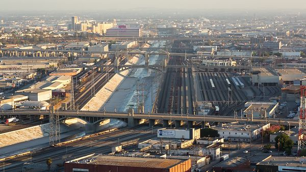 Wide Shot: Bridges Carrying Traffic Over the L.A. Viaduct & Trainyards
