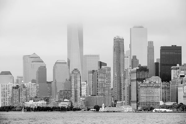 FOG MANHATTAN SKYLINE LOW CLOUDS NEW YORK CITY BLACK AND WHITE