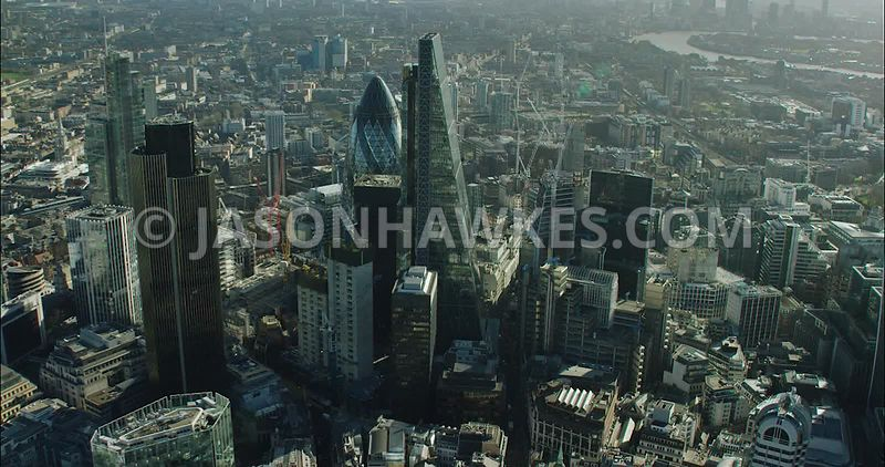 London Aerial Footage of City of London skyline close up.