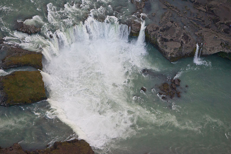 Aerial view of Godafoss waterfall, Skjalfandafljot River, Iceland, July 2009.