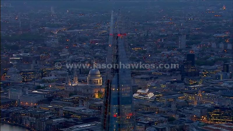 Aerial footage of The Shard at night, London, England, UK