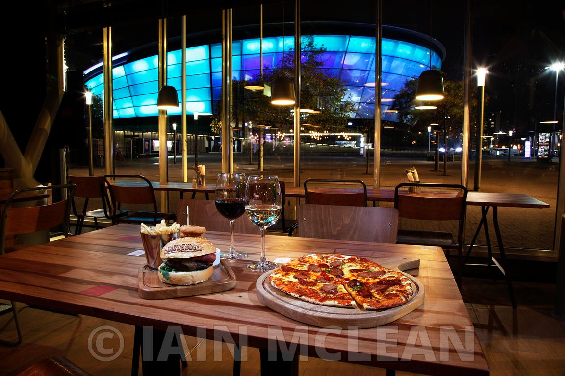 The SSE Hydro, Glasgow and the new Clyde Built restaurant at the SECC..30.9.13.The opening night of Clyde Built and the evening of the Rod Stewart concert - the first ever concert at the Hydro...Picture Copyright:.Iain McLean,.79 Earlspark Avenue,.Glasgow.G43 2HE.07901 604 365.photomclean@googlemail.com.www.iainmclean.com.All Rights Reserved.No Syndication