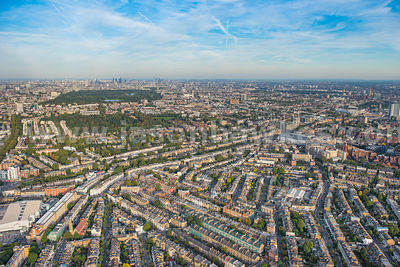 Aerial view of Kensington and Holland Park, London