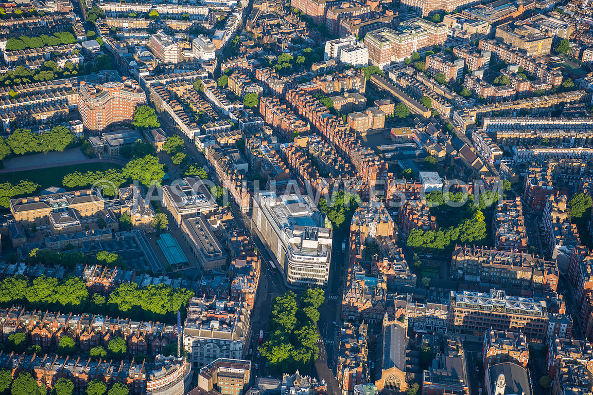 Aerial view of London, Chelsea with Peter Jones Department Store and Sloane Street.