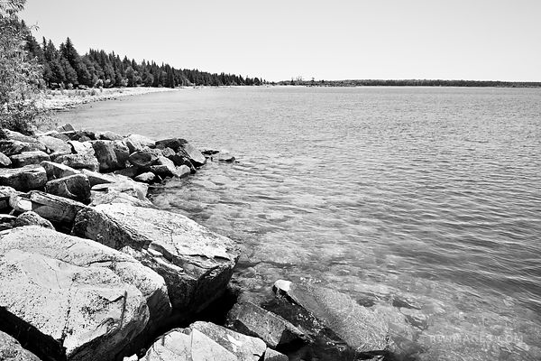 ROCK ISLAND STATE PARK DOOR COUNTY WISCONSIN BLACK AND WHITE