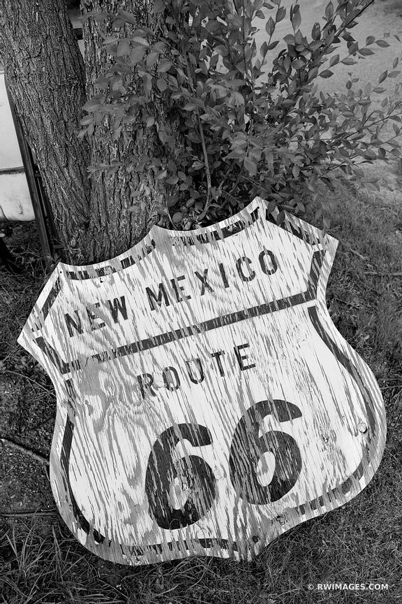 OLD ROUTE 66 SIGN TUCUMCARI NEW MEXICO ROUTE 66 BLACK AND WHITE VERTICAL