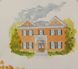 Scott_Craig House, original watercolor illustration, 17 x 21 framed