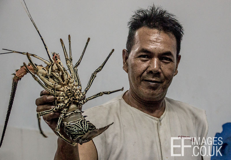 A Man Holding A Painted Spiny Lobster