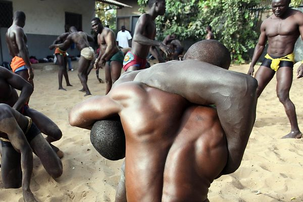 The wrestling school (the stable) Ndakaru in Dakar.