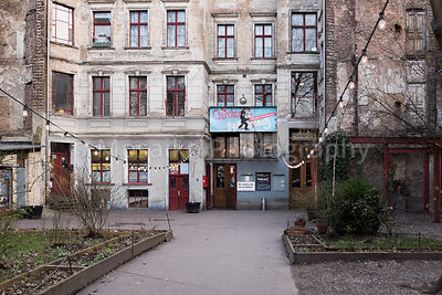 BERLIN, FEBRUARY 28: The Clarchens Ballhaus, Auguststrasse Berlin Mitte on February 28 2016. Formerly a ballroom, now a nightclub and restaurant it has protected status as a Berlin cultural monument.