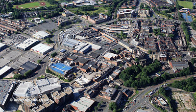 The Mall, Millgate Shopping Centre, Bury town Centre  Bury Greater Manchester from the air