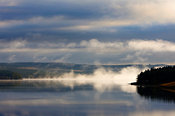 Mist and shoreline, Kielder Water,