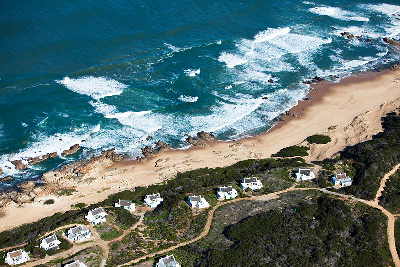 Aerial photograph of holiday homes, near Cape Agulhas, South Africa, Western Cape Province, Indian Ocean, August 2009