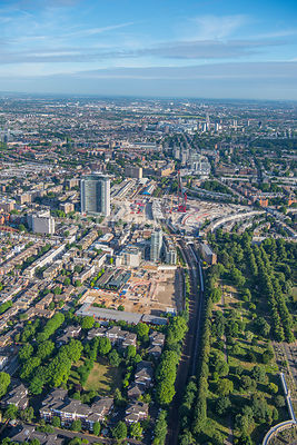 Aerial view of London, Earl's Court redevelopment with Empress State Building.