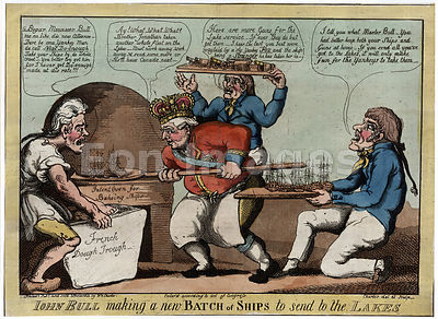 Cartoon satirizing Royal Navy during War of 1812
