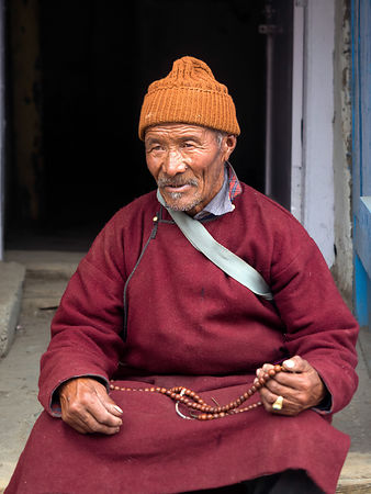 This portrait of an old monk was photographed in a Ladakhi monastery.