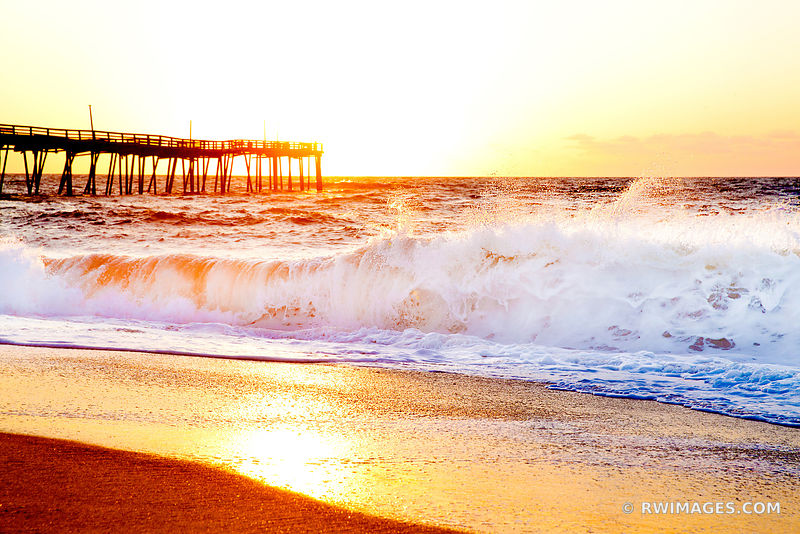 FRISCO PIER ATLANTIC OCEAN BEACH SUNRISE CAPE HATTERAS ISLAND OUTER BANKS NORTH CAROLINA