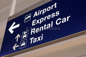 Airport Sign for Rental Car and Taxi