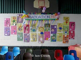 a kindergarten nursery display of childrens self portraits at a preschool graduation ceremony