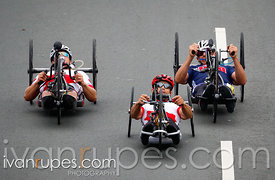 Charles Moreau (Can), Mark Ledo (Can), and William Lachenauer (USA) are battling it out for the medals in the H3-5 Road Race, Toronto 2015 Parapan Am Games, Toronto, On; August 8, 2015