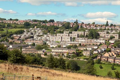 Typical British Mixed Housing  Comprising Terraces of Houses and Small Apartment Blocks