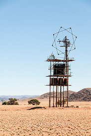 aerial and water tank in desert