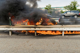 A car fire on the highway at New Jersey Turnpike in New Jersey.