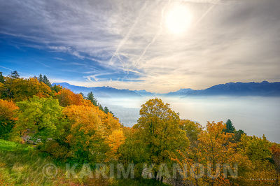 View over Région Léman - fall season