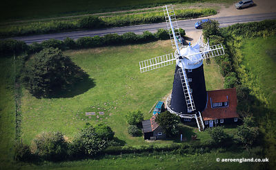 aerial photograph of Burnham Overy Staithe Windmill,  Norfolk England UK.