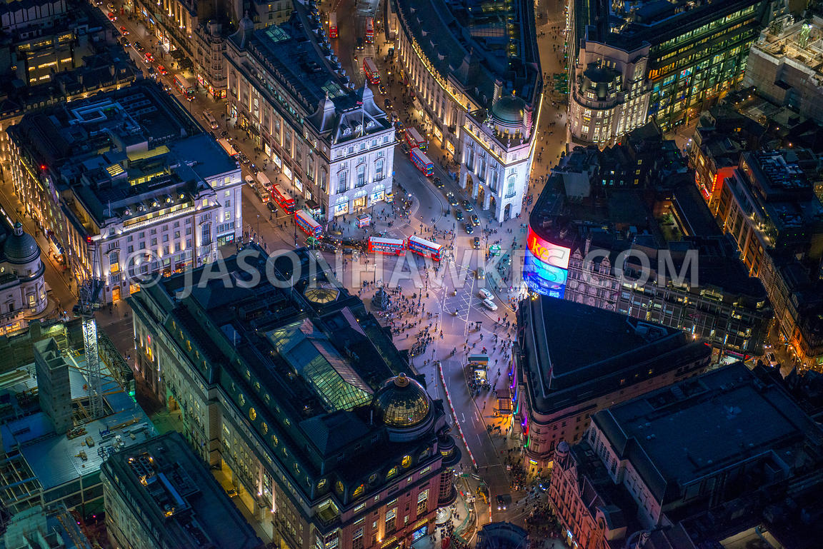Aerial view of Piccadilly Circus at night, London