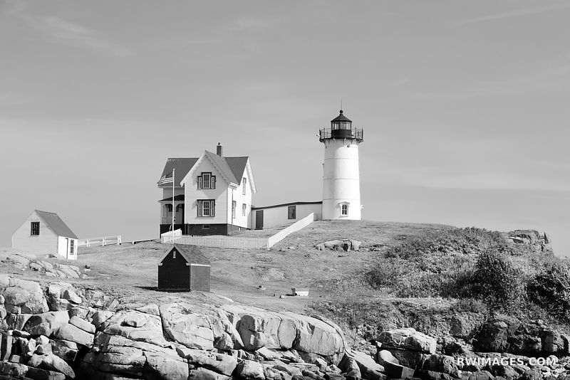 NUBBLE LIGHT CAPE NEDDICK LIGHTHOUSE ATLANTIC OCEAN MAINE COAST BLACK AND WHITE