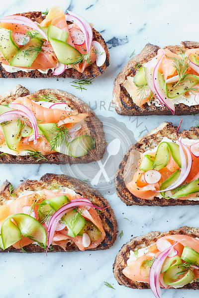 Smoked Salmon and Cucmber Open Sandwiches on Marble
