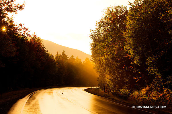 SUNSET KANCAMAGUS PASS ROAD BEND WHITE MOUNTAINS DRIVING KANCAMAGUS HIGHWAY NEW HAMPSHIRE FALL COLORS